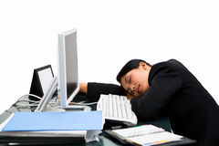 Sleeping secretary. Tired and sleeping at work hour, very irresponsible action Royalty Free Stock Images