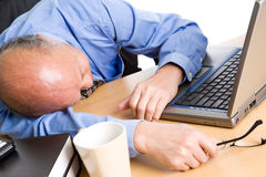 Sleeping senior asian businessman Stock Photo