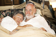 Sleeping Senior Couple Stock Images