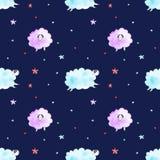 Sleeping sheep dark blue pattern vector illustration