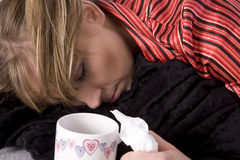 Sleeping sick woman Stock Photos