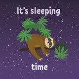 Sleeping sloth on tree branch . Cute cartoon character. Wild jungle animal collection. Baby education. Isolated. Flat Royalty Free Stock Photos