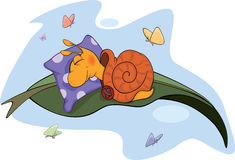 Sleeping snail cartoon Royalty Free Stock Photo
