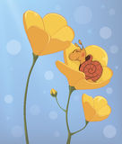 A sleeping snail and a yellow flower cartoon Stock Images