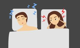 Sleeping snoring man. Sleeping snoring man and angry woman in bed Royalty Free Stock Images
