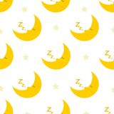 Sleeping and snoring moon seamless pattern. Lovely sleeping and snoring moon seamless pattern background. Nice and clean design Stock Image