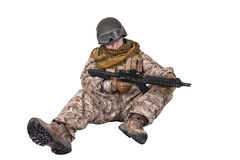 Sleeping soldier Stock Photos