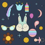 Sleeping squirrel.Face isolated animal for decoration. Children`s drawing. Delicate colors vector illustration