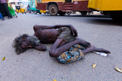 Sleeping in the street, Chennai, India Stock Photos