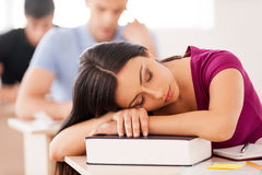 Sleeping student. Royalty Free Stock Image