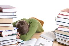 The sleeping student with books isolated royalty free stock photo