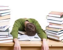 The sleeping student with books isolated stock photo
