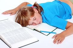 Sleeping student girl Stock Photos