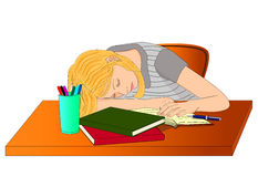 Sleeping student girl Royalty Free Stock Images