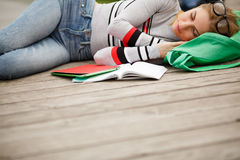 Sleeping student with Tablet and notebooks Royalty Free Stock Photography