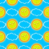 Sleeping sun and clouds. seamless pattern Royalty Free Stock Photo