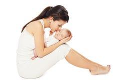 sleeping sweet baby lying on hands mom Stock Image