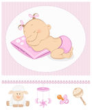 Sleeping sweet girl arrival announcement Stock Photography