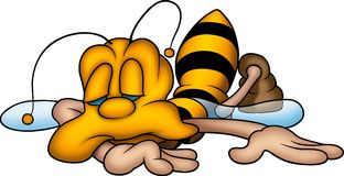 Sleeping sweet wasp. Little Bee 15 - High detailed and coloured illustration - Sleeping sweet wasp stock illustration