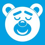 Sleeping teddy bear icon white. Isolated on blue background vector illustration Stock Photography