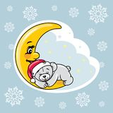 Sleeping teddy bear on the moon. Christmas scrapbook design Royalty Free Stock Image