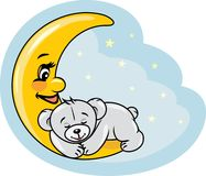 Sleeping teddy bear on the moon Stock Photography