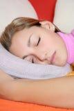 Sleeping teen girl stock photos