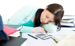 Sleeping teen girl studying Stock Photos
