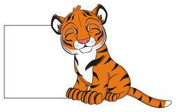 Sleeping tiger and empty poster Royalty Free Stock Photography