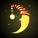 Sleeping Time. Sleeping cartoon Horned Moon at night sky stock illustration