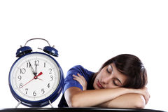 Sleeping Time. Conceptual Photo Of A Pretty Woman Sleeping Over Time Stock Photos