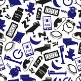 Sleeping time blue icons seamless pattern Royalty Free Stock Images