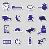 Sleeping time blue stickers symbols set Stock Photos