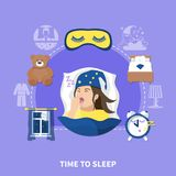 Sleeping Time Flat Circle Composition Royalty Free Stock Image