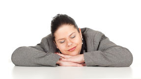 Sleeping tired overweight, fat businesswoman Stock Photos