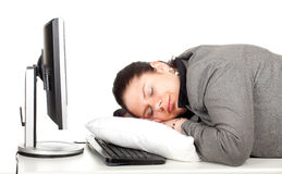 Sleeping tired overweight, fat businesswoman Royalty Free Stock Images