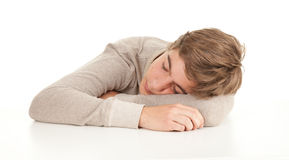 Sleeping tired teenager Royalty Free Stock Photos