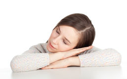 Sleeping tired young woman Stock Photo
