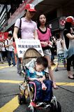 Sleeping Toddler during Protest in Hong Kong Stock Photography