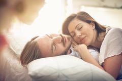 Sleeping together. royalty free stock photo