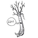 Sleeping Tree Cartoon Vector Illustration. Character Design Stock Photo