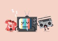 Sleeping TV is waken by radio and telephone Stock Image