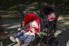 Sleeping twins baby in double stroller Royalty Free Stock Photo