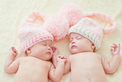Sleeping twins royalty free stock photo