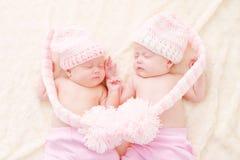 Sleeping twins royalty free stock photos