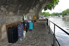 Sleeping under a bridge in Paris. Stock Image