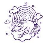 Unicorn sleeping. Sleeping unicorn on cloud, rainbow Stock Photo