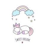 Sleeping unicorn vector illustration Stock Photo