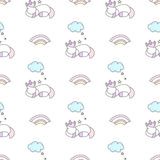 Sleeping unicorns seamless vector pattern Royalty Free Stock Images