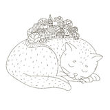 Сat sleeping. The  vector outline on white background. Drawn by hand Royalty Free Stock Image